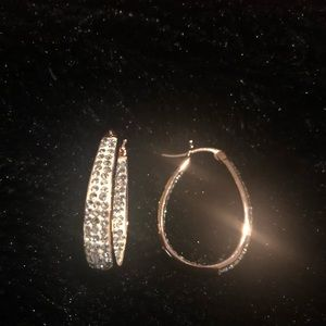 Swarovski crystal all rose gold hoop earrings NWT